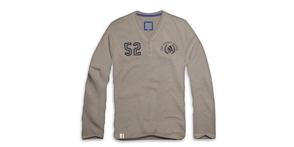 Pánské šedo-béžové triko s dlouhým rukávem Paul Stragas