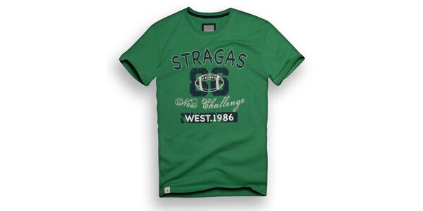 Pánské zelené triko s potiskem Paul Stragas
