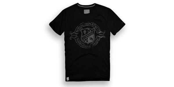 Pánské černé triko s veslařským potiskem Paul Stragas