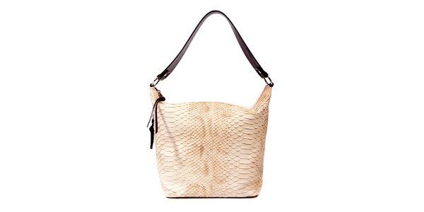 Světle hnědá kožená kabelka značky Puntotres Barcelona v imitaci hada