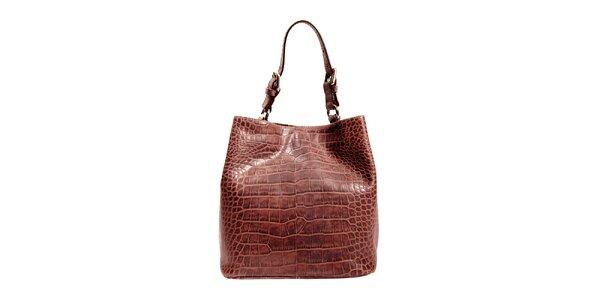 Hnědá kožená kabelka značky Puntotres Barcelona v imitaci krokodýla