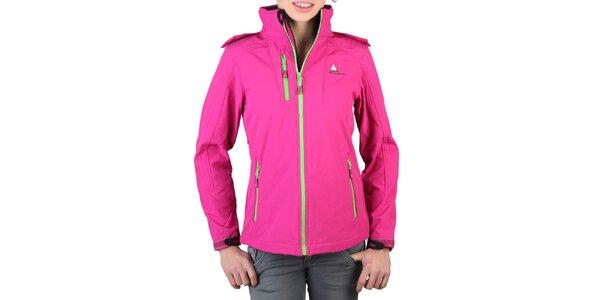 Dámská růžová bunda se zelenými zipy Peak Mountain