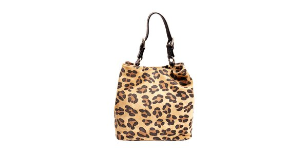 Semišová kabelka značky Puntotres Barcelona v imitaci leoparda