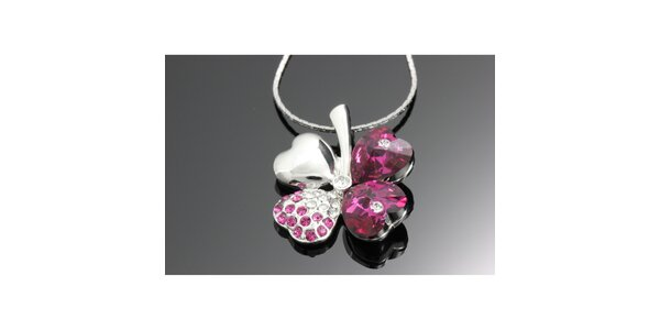 Dámský růžový náhrdelník se čtyřlístkem Swarovski