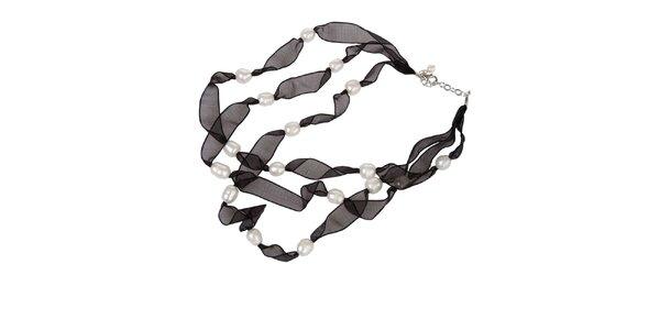 Dámský černý hedvábný náhrdelník Arla s bílými perlami