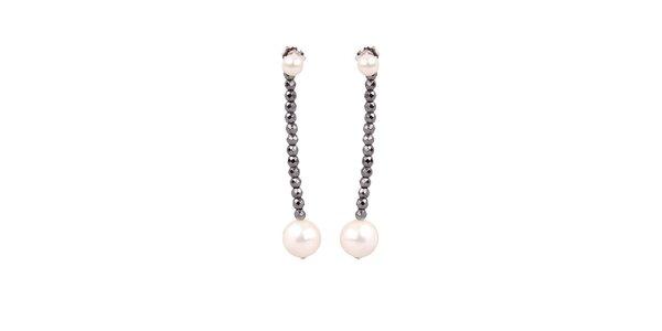 Dámské perlové náušnice Arla s hematitovými kamínky