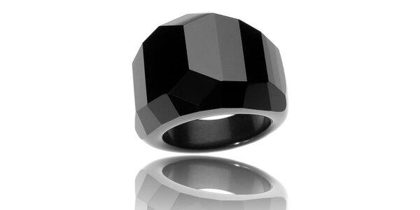 Dámský černý broušený skleněný prsten Bague a Dames