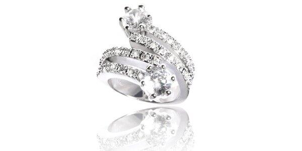 Dámský stříbrný prsten Bague a Dames s bílými krystaly