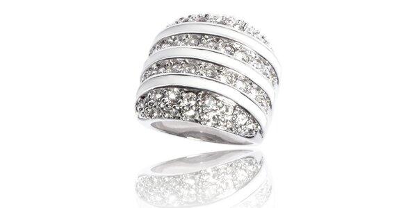 Dámský stříbrný prsten Bague a Dames s bílými krystaly a bílými proužky
