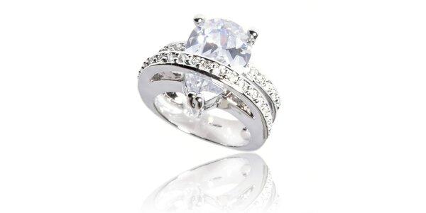 Dámský stříbrný prsten Bague a Dames s velkým transparentním krystalem