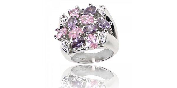 Dámský prsten Bague a Dames s fialovými a růžovými kamínky