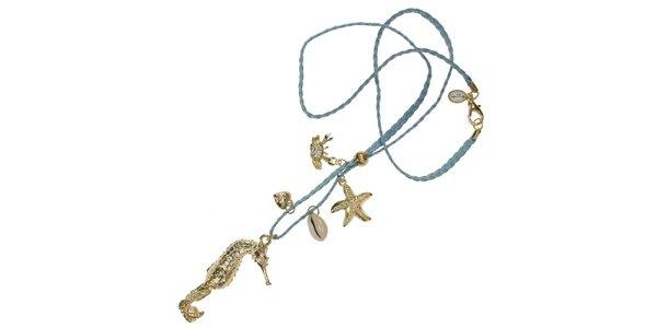 Dámský modrý náhrdelník Escapulario s přívěsky
