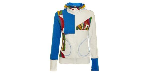 Dámská bílo-modrá mikina Dislay DY Design s barevnými detaily a korálky
