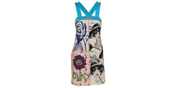 Dámské modro-bílé šaty s tarkysovými ramínky a dámou Dislay DY Design