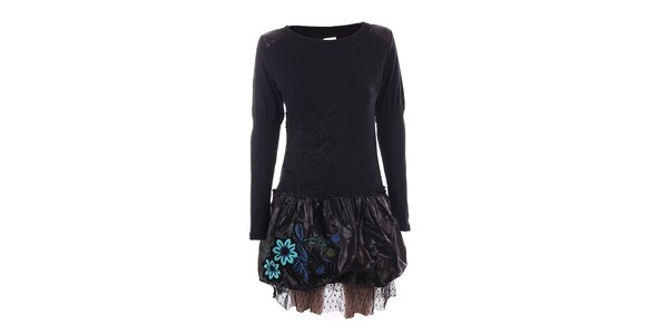 Dámské černé šaty s lesklou sukní DY Dislay Design
