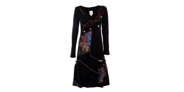Dámské černé šaty s barevnými plochami DY Dislay Design