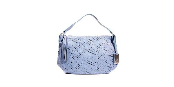 Modrá perforovaná kožená kabelka značky Puntotres Barcelona