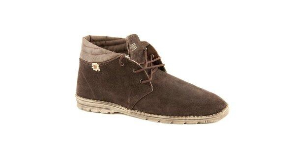 Pánské zimní kávové semišové boty Dude