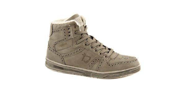 Pánské šedé kožené zimní boty Dude