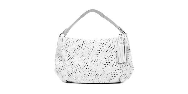 Bílá perforovaná kožená kabelka značky Puntotres Barcelona