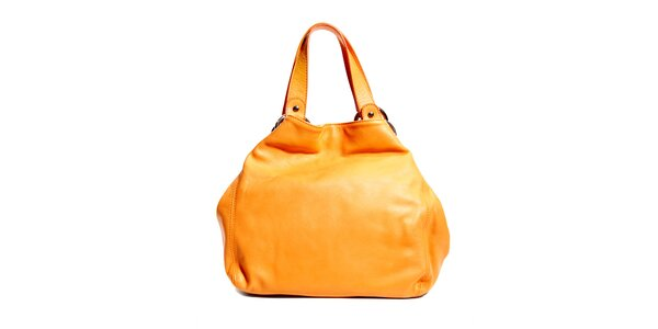 Oranžová kožená kabelka značky Puntotres Barcelona
