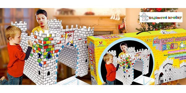 Velký hrad s padacím mostem jako 3D omalovánka