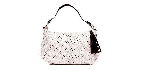 Bílá kožená kabelka značky Puntotres Barcelona