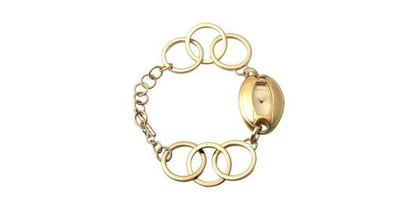 Dámske hodinky Mango se zlatým ciferníkem i řemínkem z ocele ()