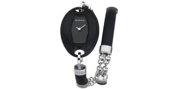 Dámske hodinky Mango s černým ciferníkem a PVD povlakem, řemínkem z oceli,