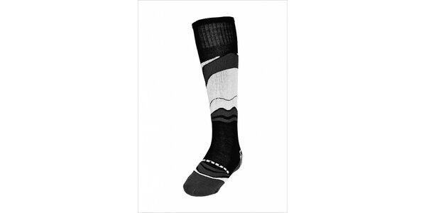 Pánské černo-bílé lyžařské ponožky Envy s merino vlnou