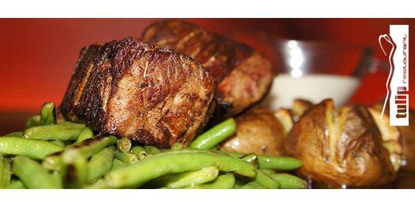 2 luxusní steaky ze svíčkové flambované na 15letém rumu