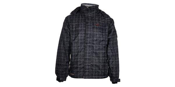 Pánská černá lyžařská bunda Envy s šedivým potiskem