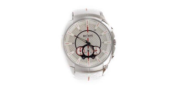 Pánské stříbrné hodinky s bílým řemínkem Axcent