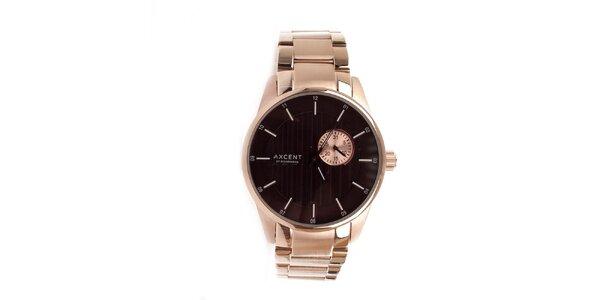 Pánské zlaté hodinky s hnědým ciferníkem Axcent