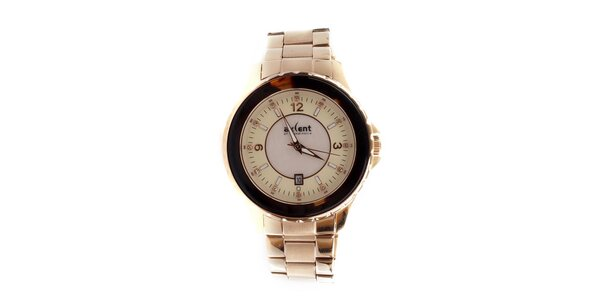Dámské zlato-růžové analogové hodinky s datumovkou Axcent