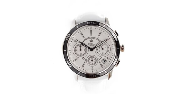 Pánské bílé ocelové hodinky Royal London s bílým kulatým ciferníkem