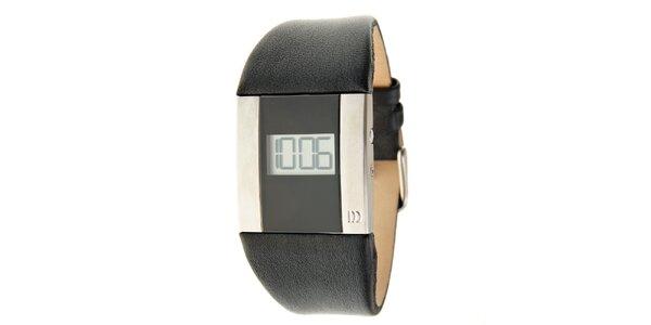 Dámské černo-stříbrné digitální hodinky Danish Design s černým koženým řemínkem