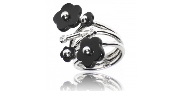 Dámský stříbrný prsten Bague a Dames s černými květy