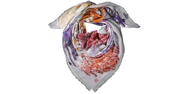 Dámský šátek Fraas v červených a fialových odstínech