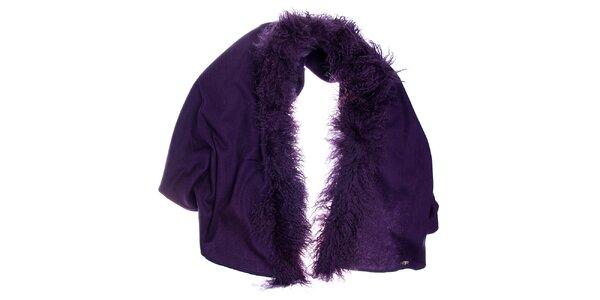 Dámská tmavě fialová vlněná šála Fraas s kožešinou