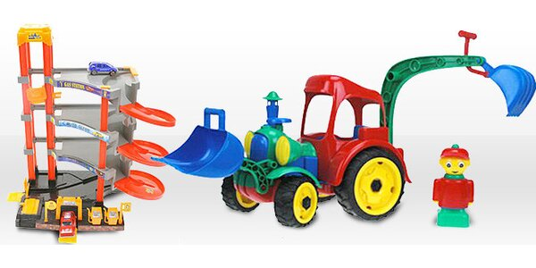 Traktor Digger nebo multifunkční garáž pro kluky