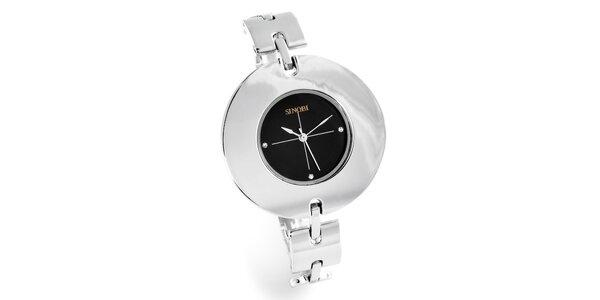 Dámské stříbrné hodinky Bague a Dames s černým ciferníkem