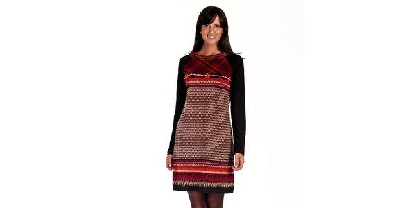 Dámské černo-červené vzorované šaty Peace&Love