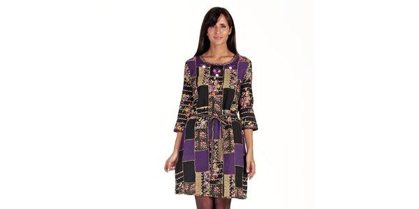 Dámské patchworkové šaty s páskem Peace&Love