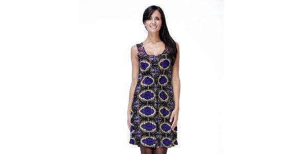 Dámské černo-fialové šaty bez rukávů Peace&Love