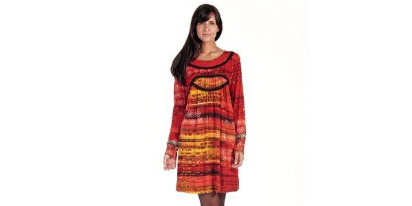 Dámské oranžovo-červené šaty s potiskem Peace&Love