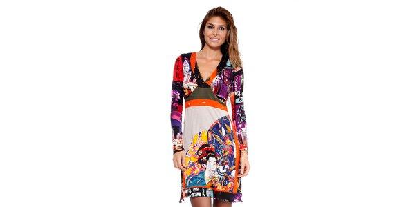 Dámské pestré šaty s japonským potiskem Peace&Love