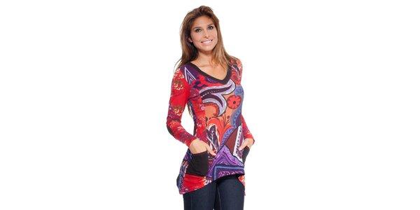 Dámské barevné cípaté tričko Peace&Love