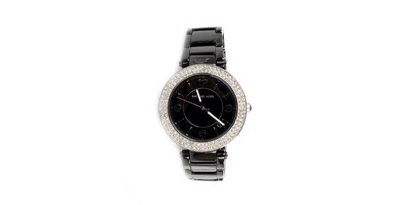 Dámské černé keramické hodinky Michael Kors s krystaly