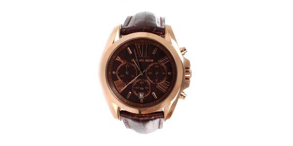 Dámské ocelové hodinky Michael Kors s hnědým koženým páskem